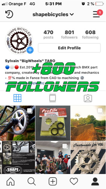 Shape bicycles's Instagram account +800 followers