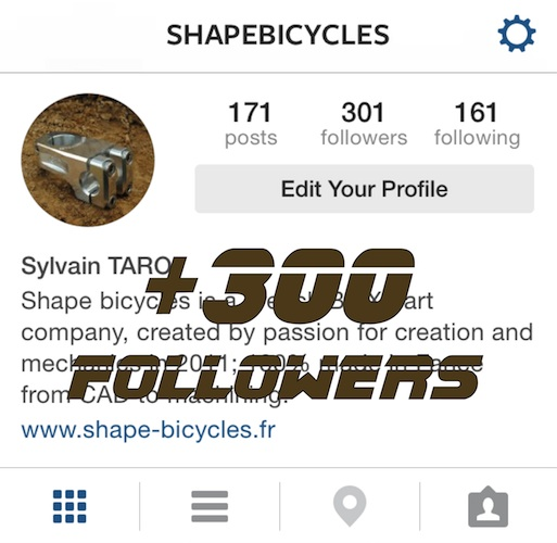 +300 people follow Shape bicycles on Instagram